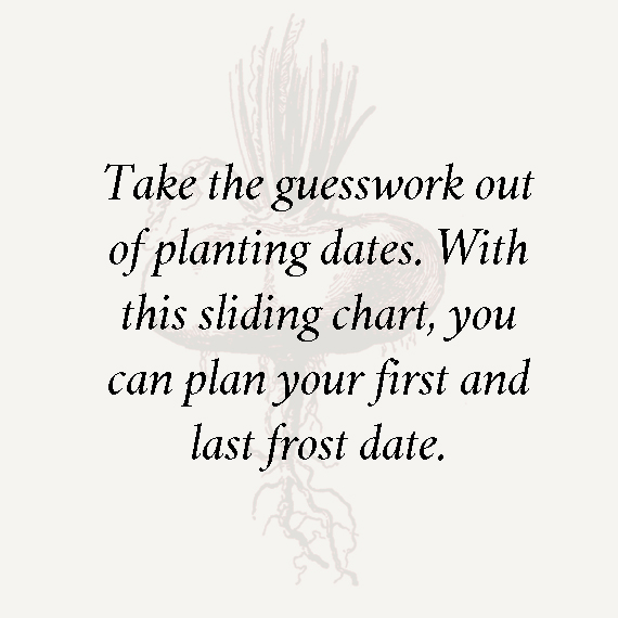 Take the guesswork out of planting dates. With this sliding chart, you can plan your first and last frost date.