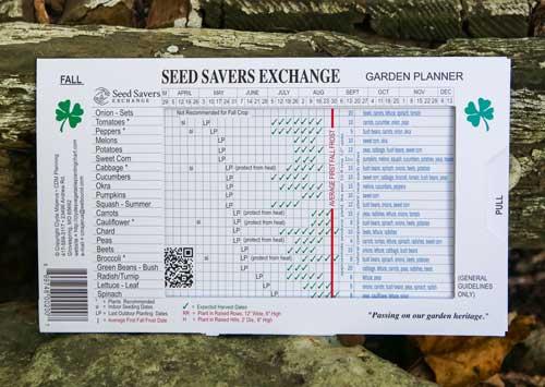 garden planner slide chart seed savers exchange